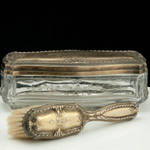 Antique gilt glass silver box and brush