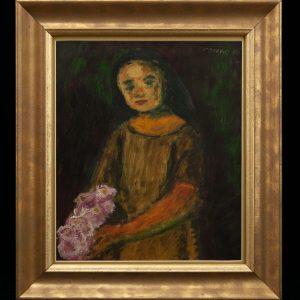 Valdur Ohakas (1925-1998) Tütarlaps lillega 1946a
