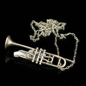 Silver trumpet pendant necklace