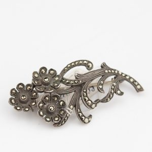 Swedish brooch, silver, markanzites