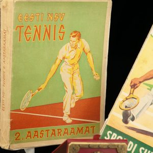 Antique tennis awards and books