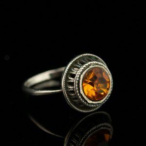 Sõrmus, 875 hõbe, kollane kivi