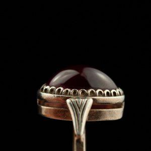 Sõrmus, 875 hõbe punase kiviga