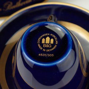 Danish porcelain cup, cobalt blue, gilt -  Ludwig van Beethoven
