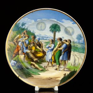 Antique Meissen plate , hand painted, German