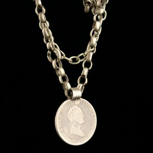 Antique 1815 silver coin pendant with silver necklace