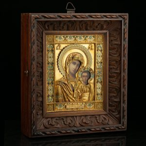 Antique Russian wood icon , gilt copper cover - Lady of Kazan