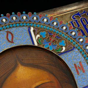 """Antiikne ikoon """"Jeesus kõigevalitseja"""" 84 hõbe kate emailiga"""