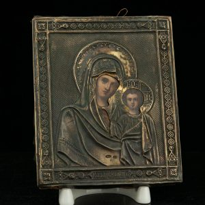 Antique Russian icon with 84 silver cover - Lady of Kazan