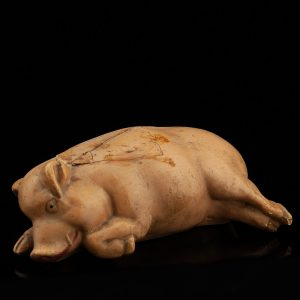 Ceramic pig coin bank, with defects