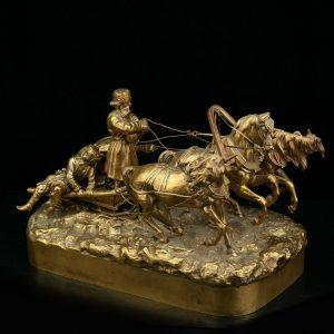 """Antiikne Vene kuju """"Troika"""" pronks 1880, signeeritud"""