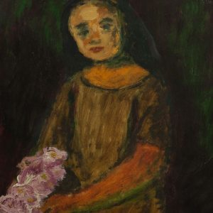 Valdur Ohakas (1925-1998) a girl with flowers 1946a , Estonian oil painting