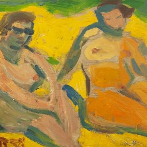Valdur Ohakas women at the beach 1958a - Estonian oil painting