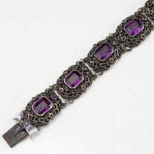 Antique 813 silver bracelet with amethysts