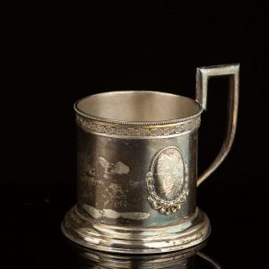 Antique Estonian 875 silver tea glass holder