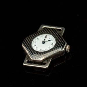 Antique Art Deco silver enamel laidies wrist watch