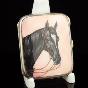 Antique alpaca enamel cigarette case with hand painted horse