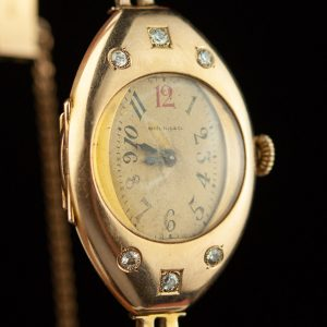 "Antique women's gold 56/585 wrist watch with diamonds  ""Borell Fils & Co"""