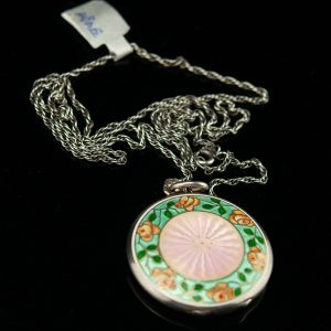 Silver enamel medalion, pendant with necklace