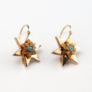Antique Imperial Russian 56 gold earrings with turqoise - booked