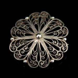 Antique Estonian silver filigree brooch