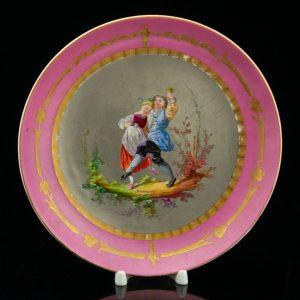 Antiikne portselan taldrik Tantsijad