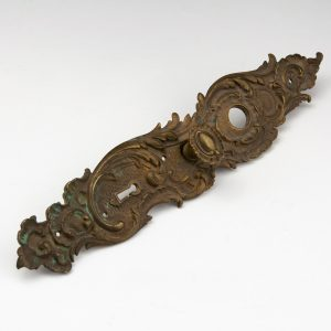 Antique baraque metal door handles and lock covers