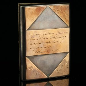 Antique silver cigarette case, gold initials
