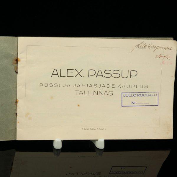 Alex. Passup püssi ja jahiasjade reklaami kataloog