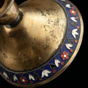 Soviet Russian silver gilt enamel sugar bowl