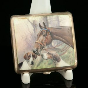 Antique hunting dogs with a horse themed cigarette case, 900 silver enamel hand painted