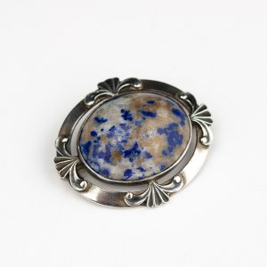 Russian 875 silver brooch with natural stone