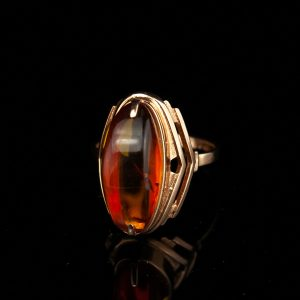 Gold 583 ring with amber