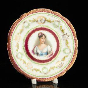 Antique German porcelain plate with a portrait of a lady