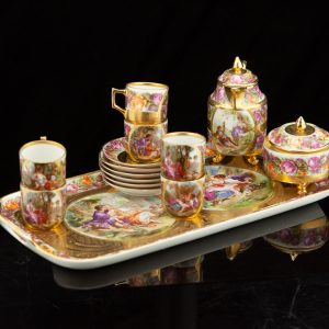 Antique gilt Vienna porcelain tea set with a tray, 22 pcs.