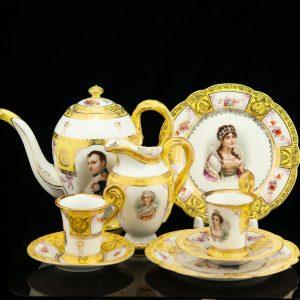 Antique porcelain tea set for 8 person - Napoleon & Josephine