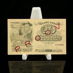 Antique Estonian paper money baknote - 20 krooni 1932 PROOV
