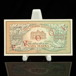 Antique Estonian paper money , banknote  100 marka proov