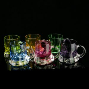 Vintage set of 6 multi color glasses with handle