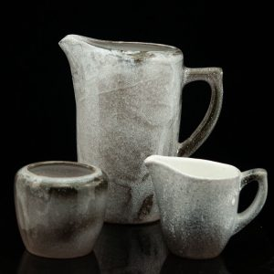 Estonian ceramic jug, creamer and cup, 1994