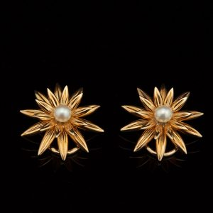 583 gold earrings with pearl