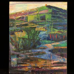 Ermi Littover (1921-2015) oil on carton, abstract landscape