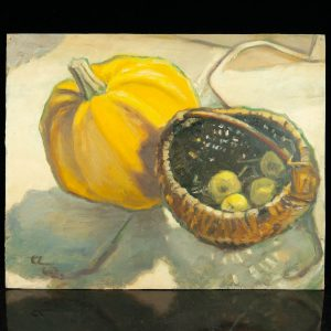 Ermi Littover (1921-2015) oil on carton , pumpkin 1962