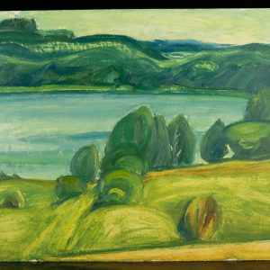 Ermi Littover (1921-2015) oil on carton - Green landscape