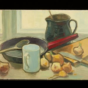 Ermi Littover (1921-2015) oil on carton, onions 1963