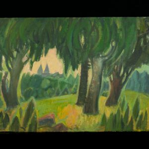 Ermi Littover (1921-2015) oil on carton - old trees