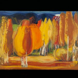 Ermi Littover (1921-2015) oil on carton, autumn trees 1967