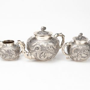 Antique Chinese silver tea set with dragons
