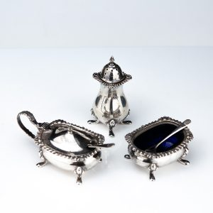 Antique silver salt & spice set