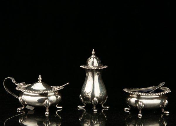 Antique silver salt & spice set